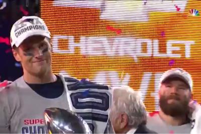 NFL: New England Patriots win the Super Bowl with quarterback Tom Brady named MVP. (NBC, 2014 Champions)