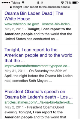 Quote: Can u see the two lots of 'I can' in the statement, Tonight, I can report to the American people... Marc